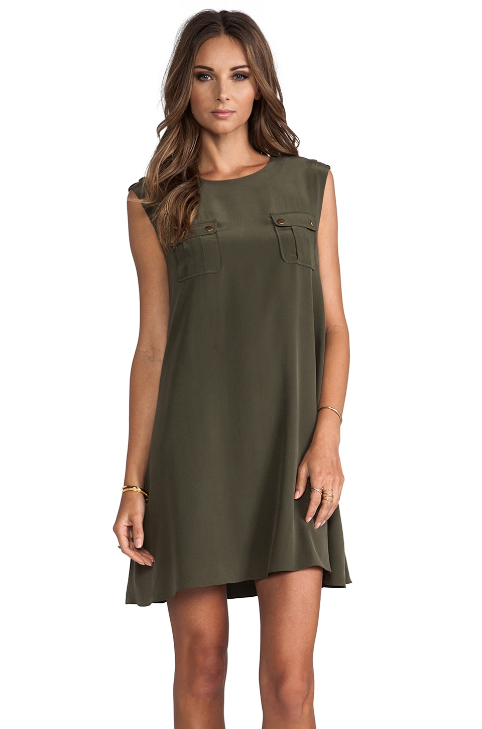 RACHEL ZOE Maribelle Sleeveless Safari Dress in Scout