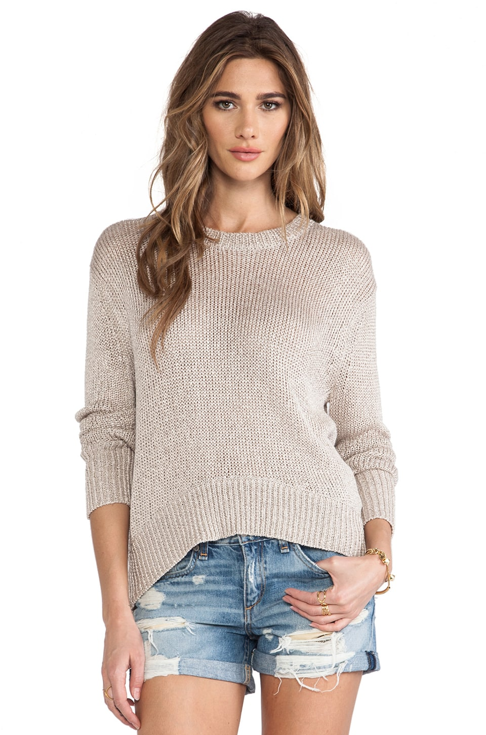 RACHEL ZOE Soho Dropped Shoulder Sweater in Silver