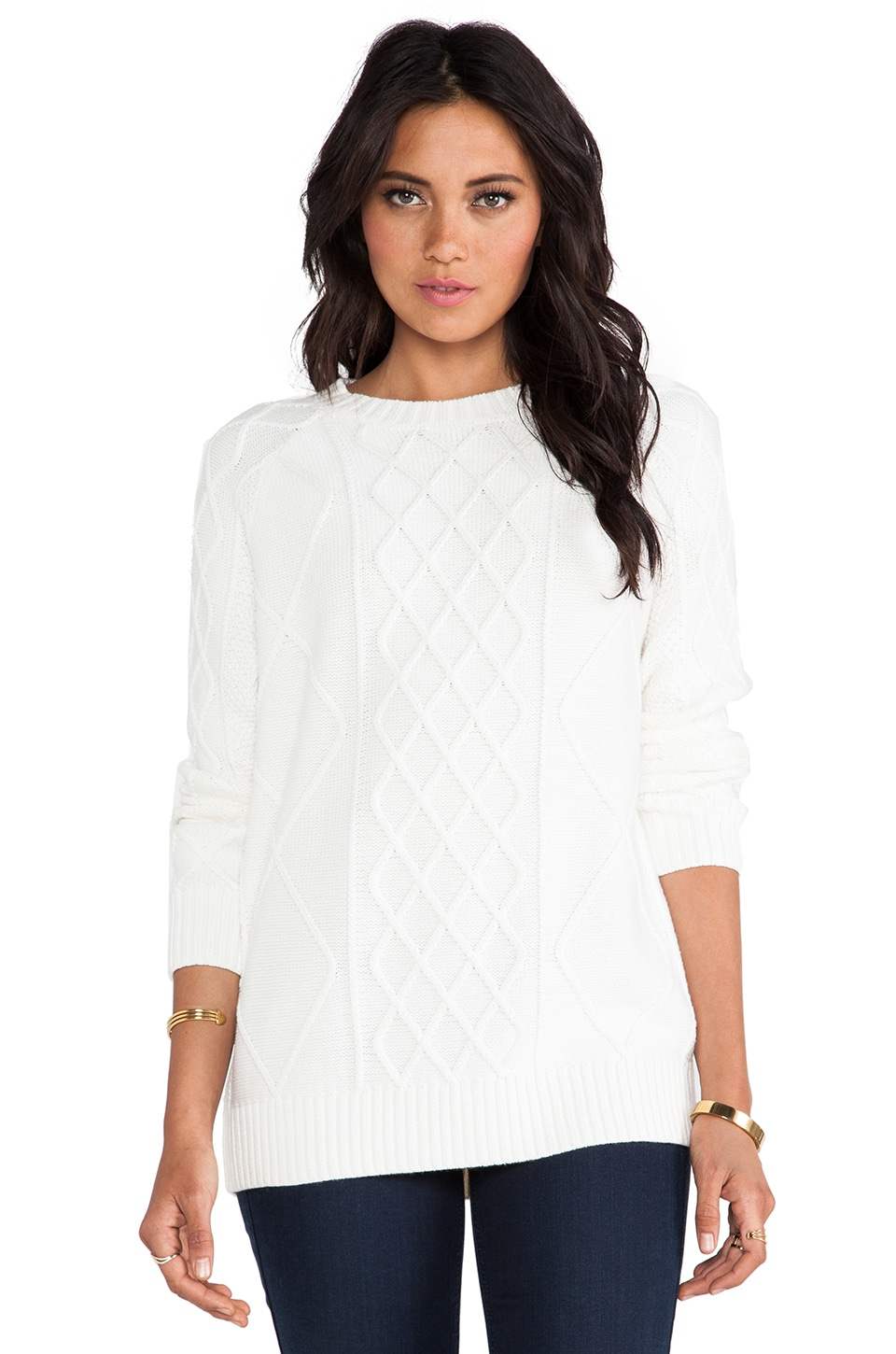RACHEL ZOE Rocco Sweater in Winter White
