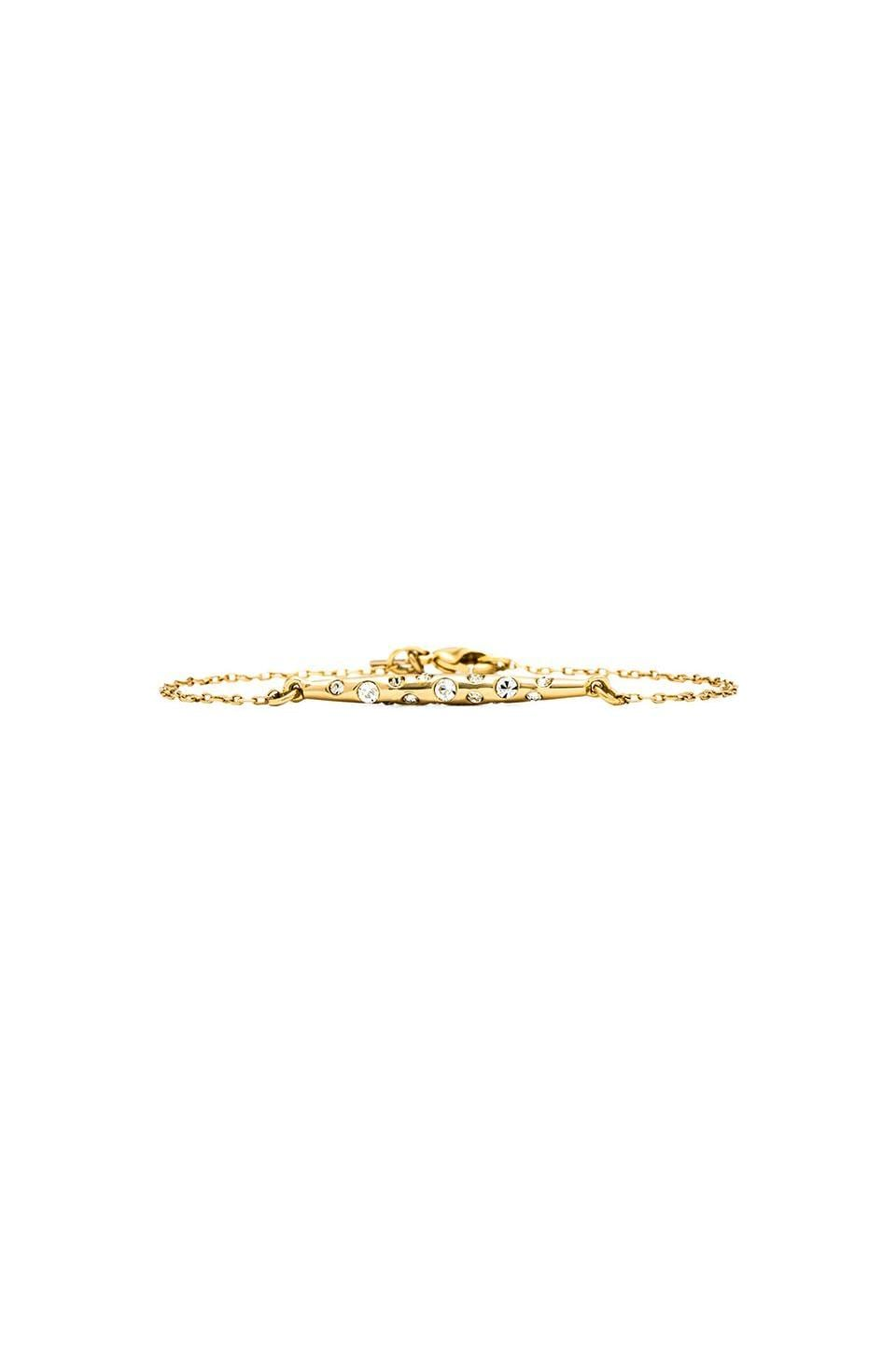 RACHEL ZOE Small Pave Quill Bracelet in Gold & Crystal