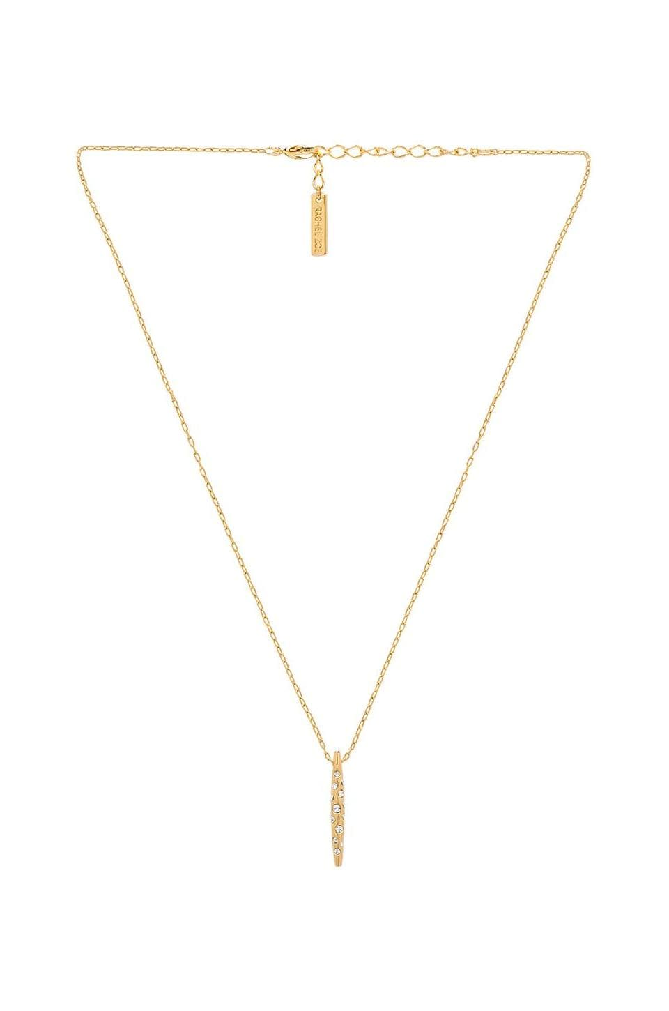 RACHEL ZOE Mini Pave Quill Drop Necklace in Gold & Crystal