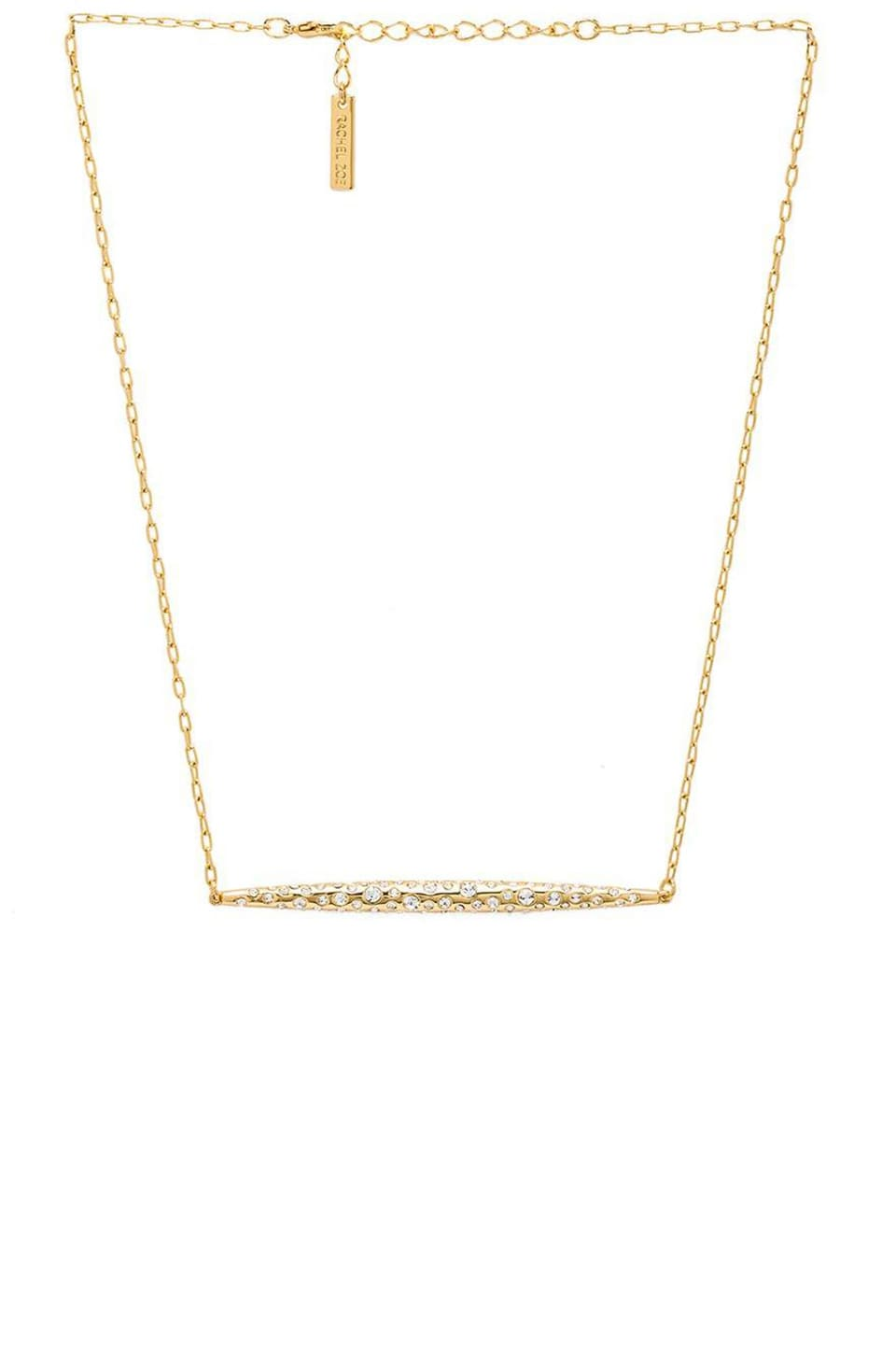 RACHEL ZOE Large Quill Pave Bar Necklace in Gold & Crystal
