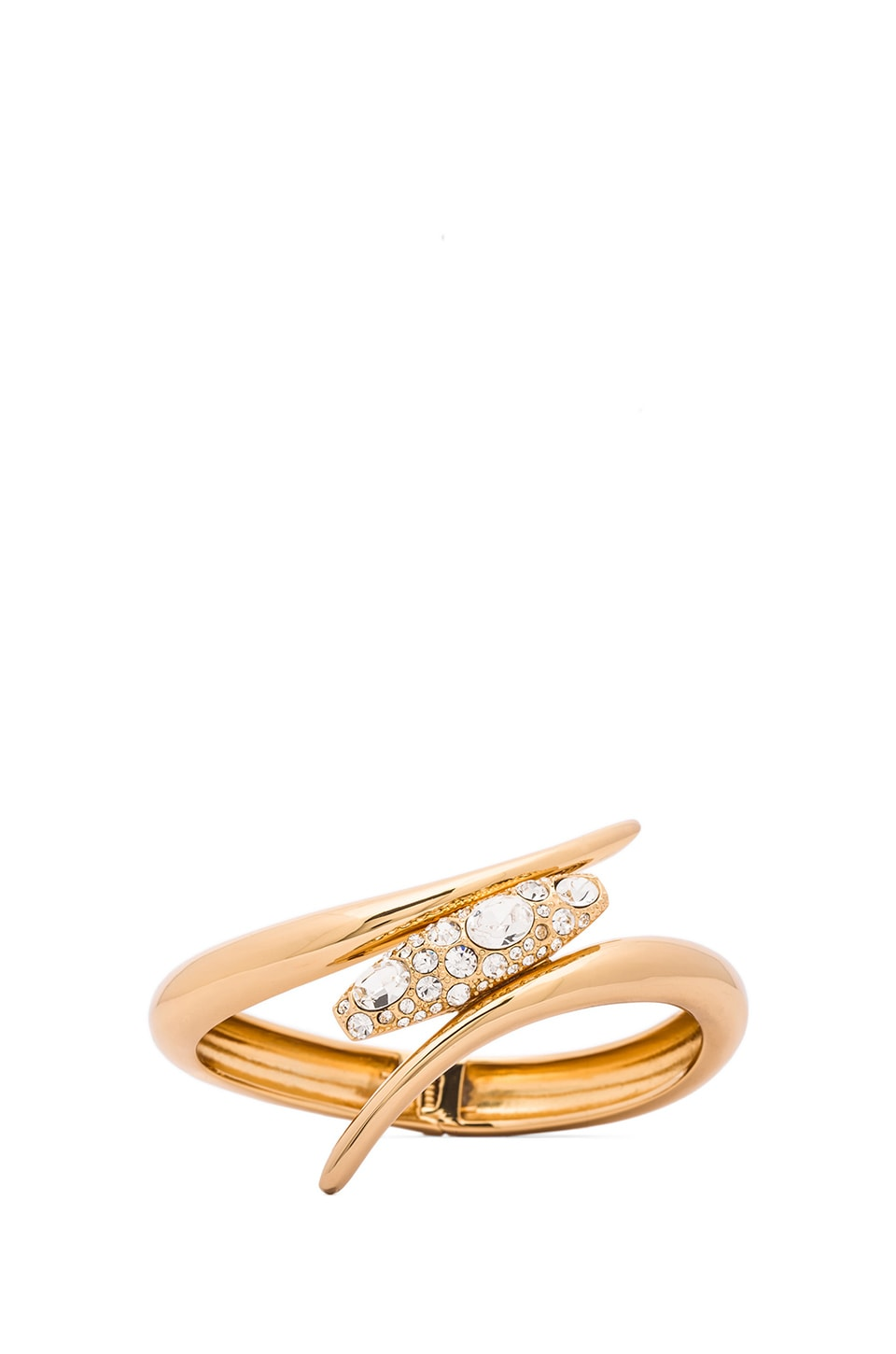 RACHEL ZOE Pave Pod Hinge Bangle in Gold