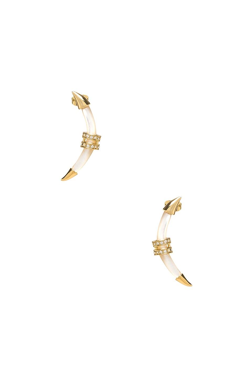 RACHEL ZOE Crescent Earring in Pearl
