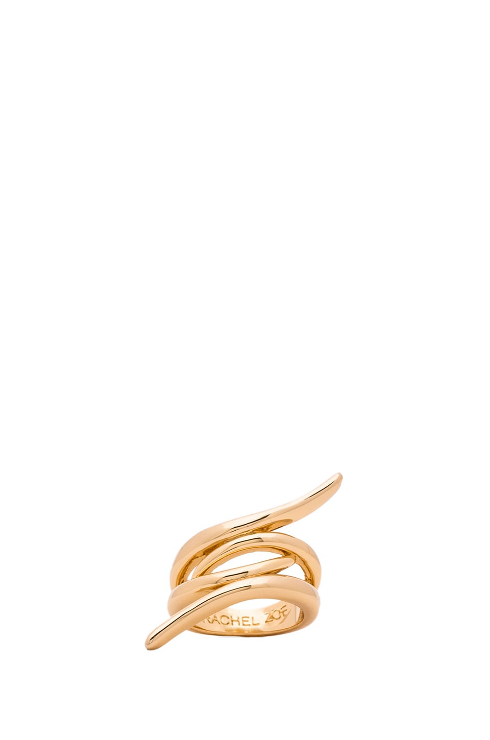 RACHEL ZOE Metal Pod Crossover Ring in Gold