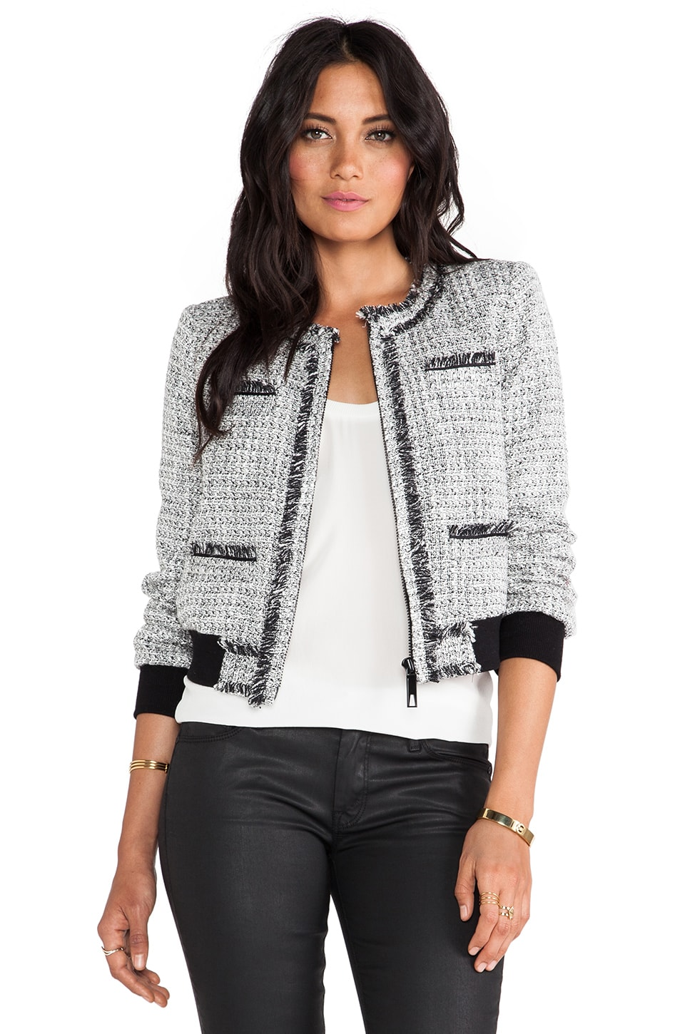 RACHEL ZOE Renata Tweed Bomber Jacket in Black & Winter White
