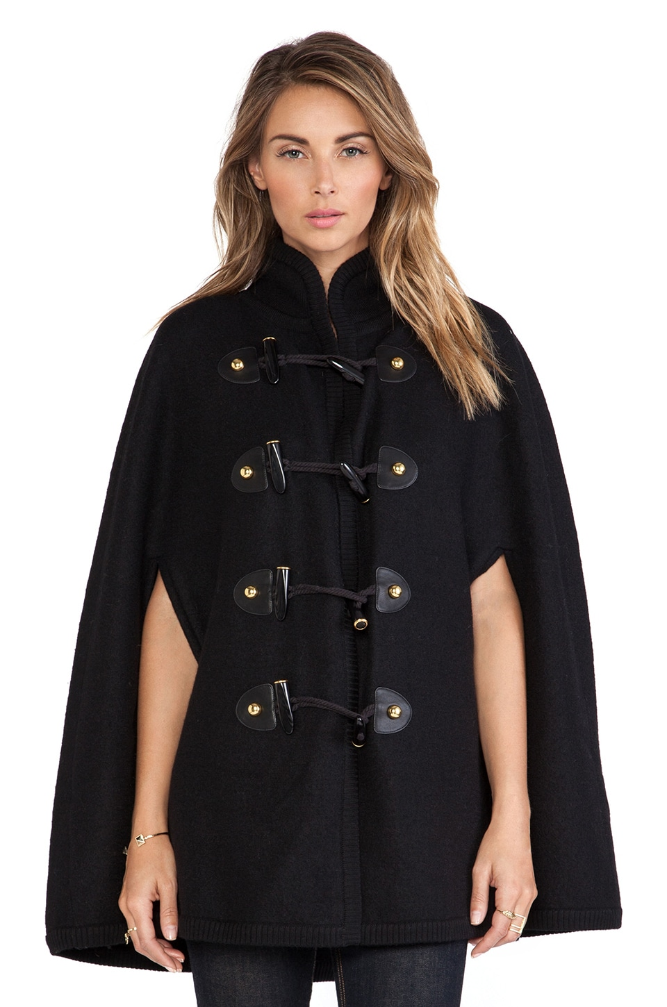 RACHEL ZOE Regina Toggle Cape in Black