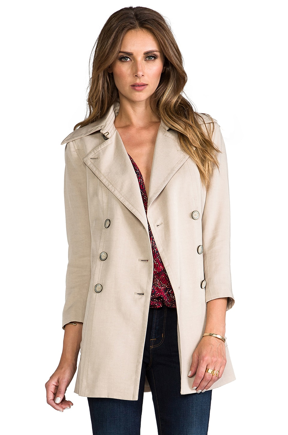 RACHEL ZOE Gerard Double Breasted Trench in Canvas
