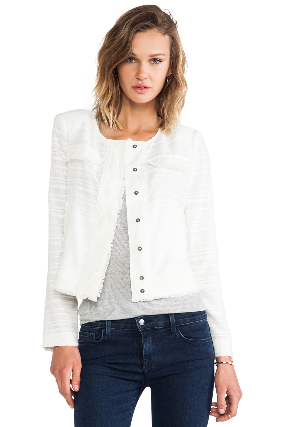 RACHEL ZOE Halloway Boxy Banded Jacket in White