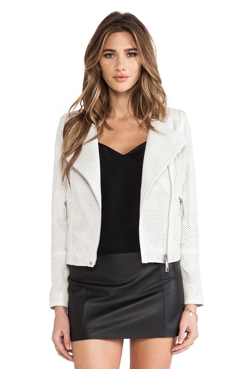 RACHEL ZOE Avery Banded Crop Jacket in Soft White