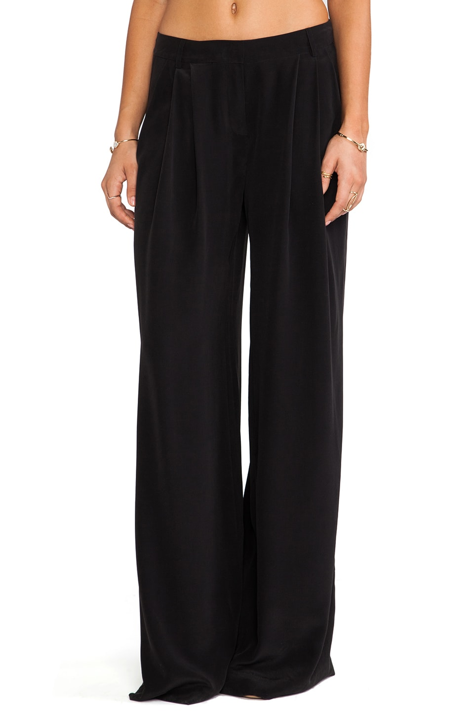 RACHEL ZOE Sebastian Wide Leg Pant in Black