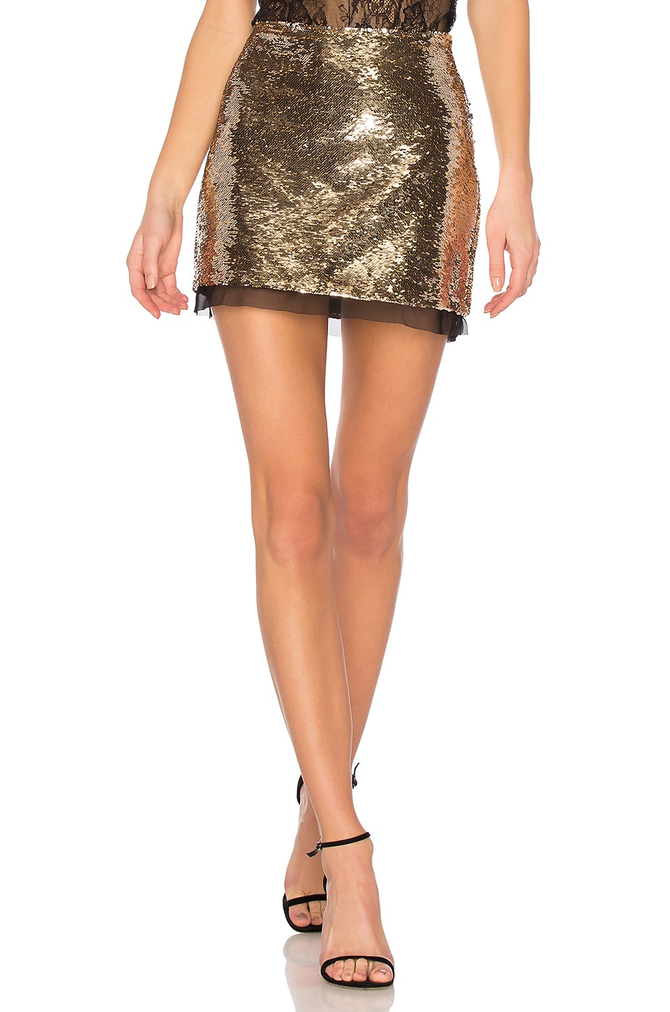 RACHEL ZOE Finn Skirt in Gold