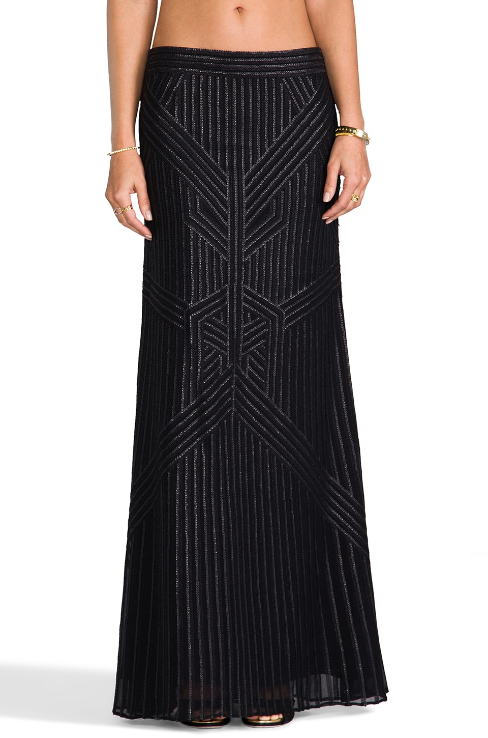 RACHEL ZOE Pearl Sequin Maxi Skirt in Black