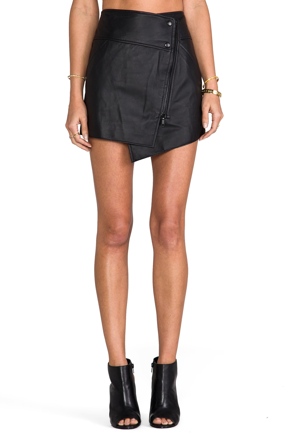Rachel Zoe Bowery Leather Asymmetrical Skirt in Black