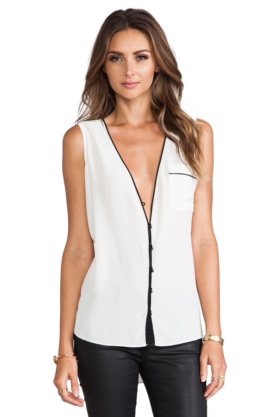 RACHEL ZOE Sable Sleeveless V Neck Top in Optic White