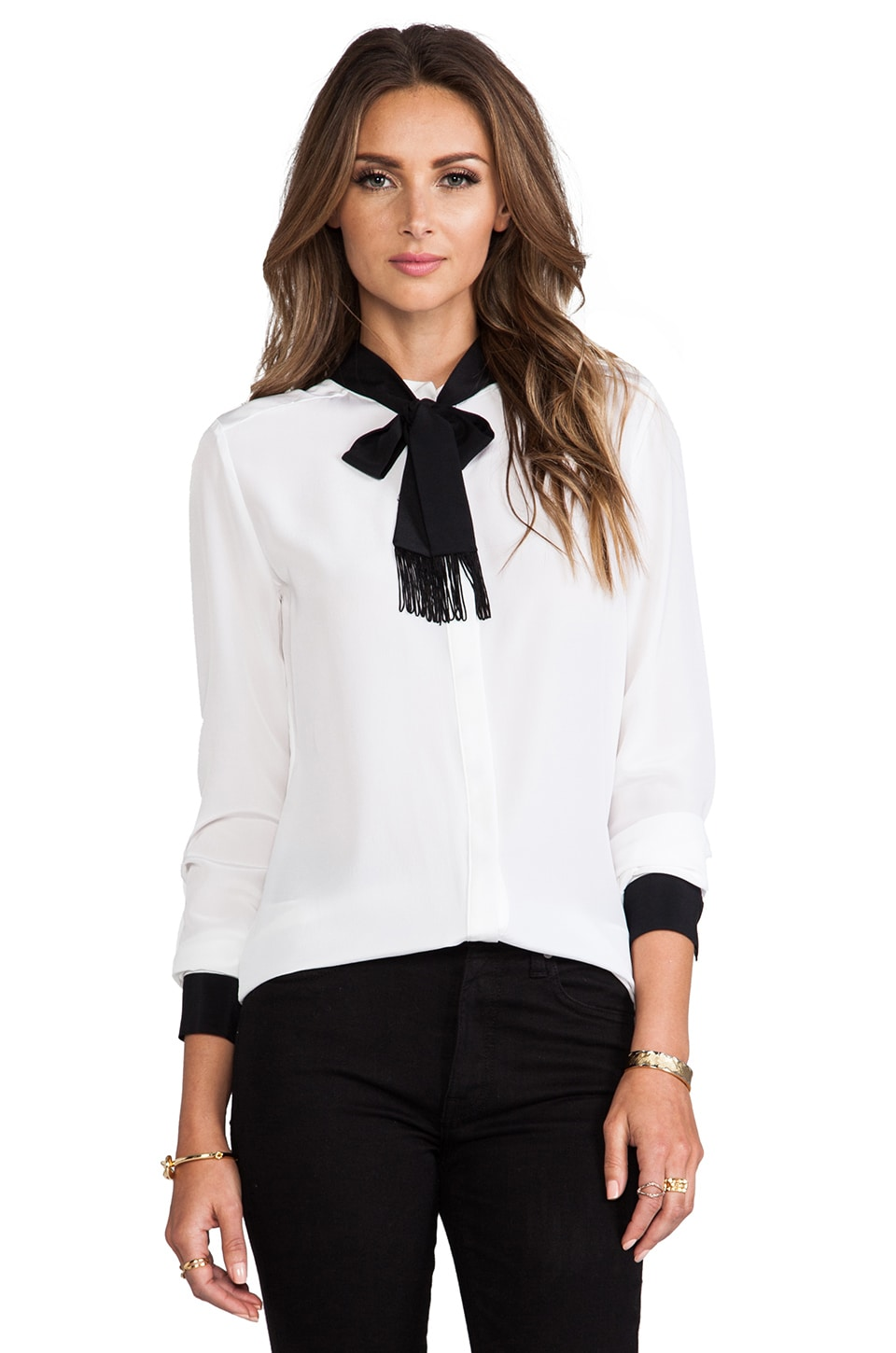 RACHEL ZOE Ricky Neck Tie Blouse in Optic White & Black