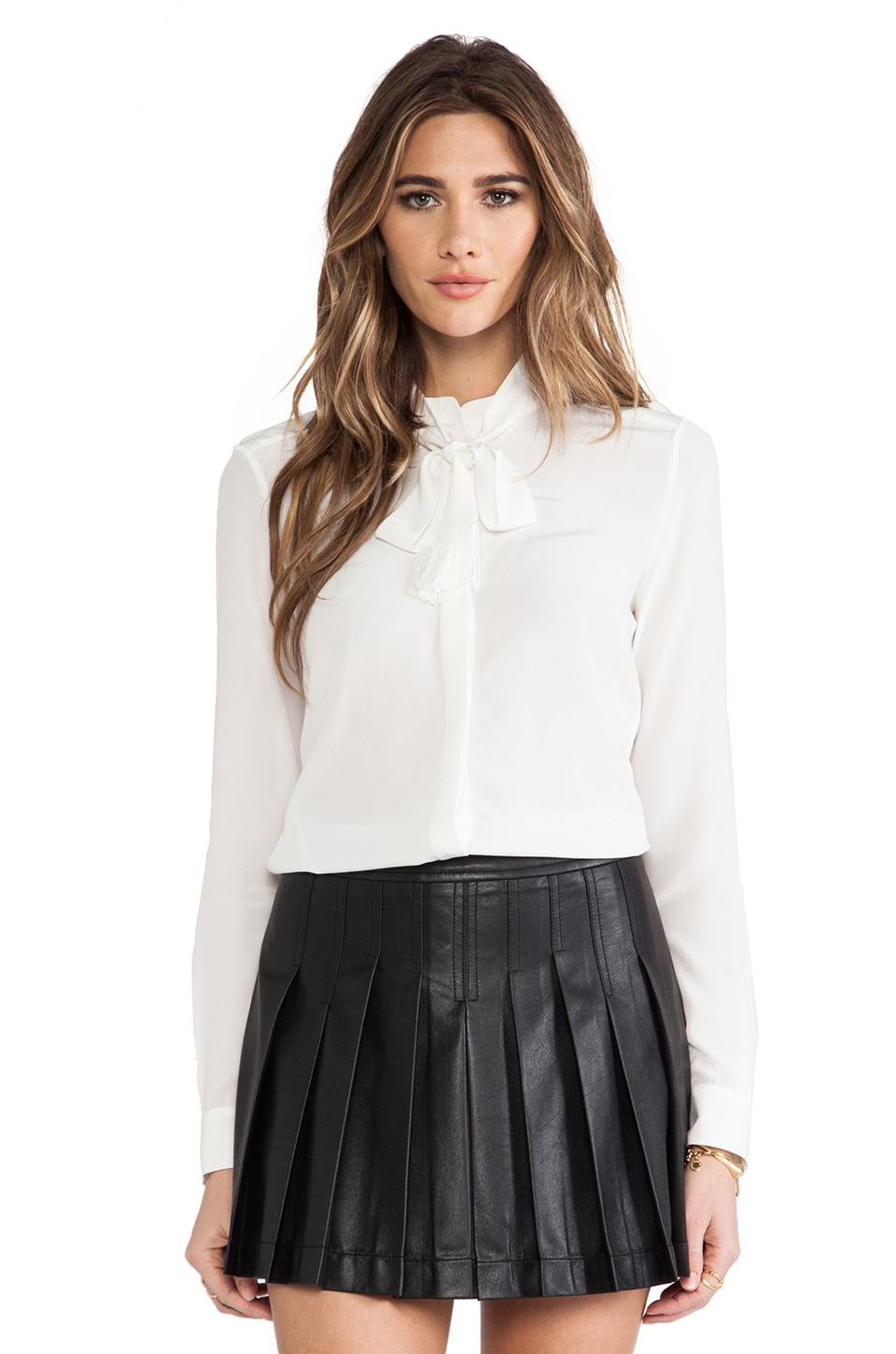 RACHEL ZOE Ricky Neck Tie Blouse in Soft White