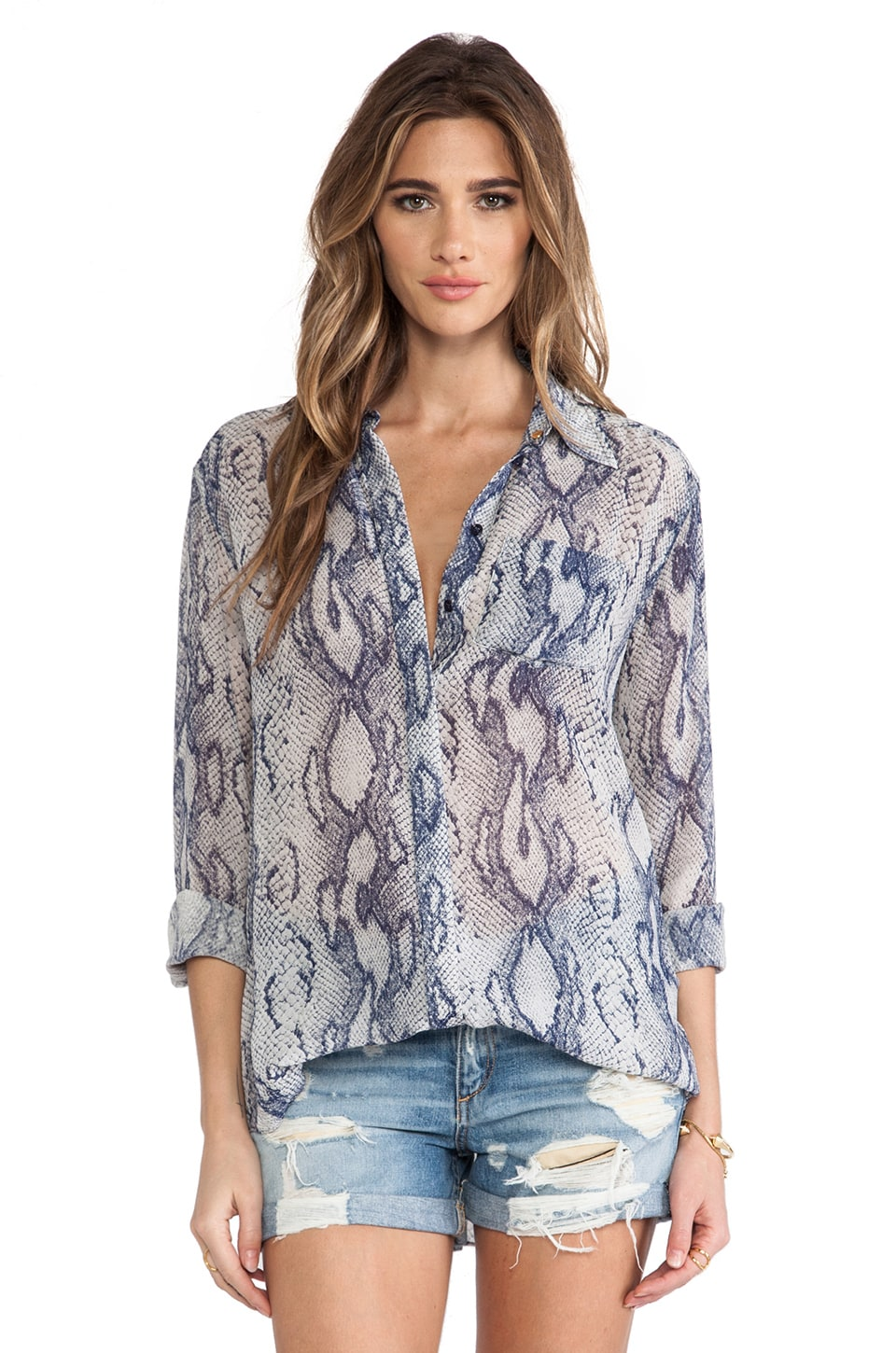 RACHEL ZOE Tavi Easy Shirttail Blouse in Indigo