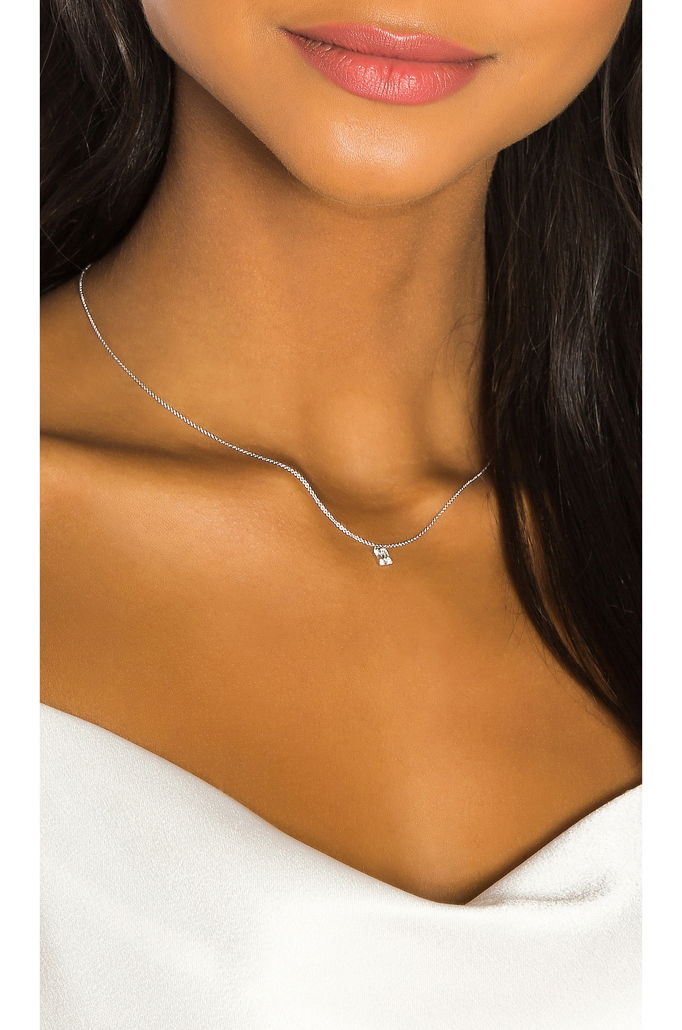 Sachi Baguette Solitaire Necklace in Silver