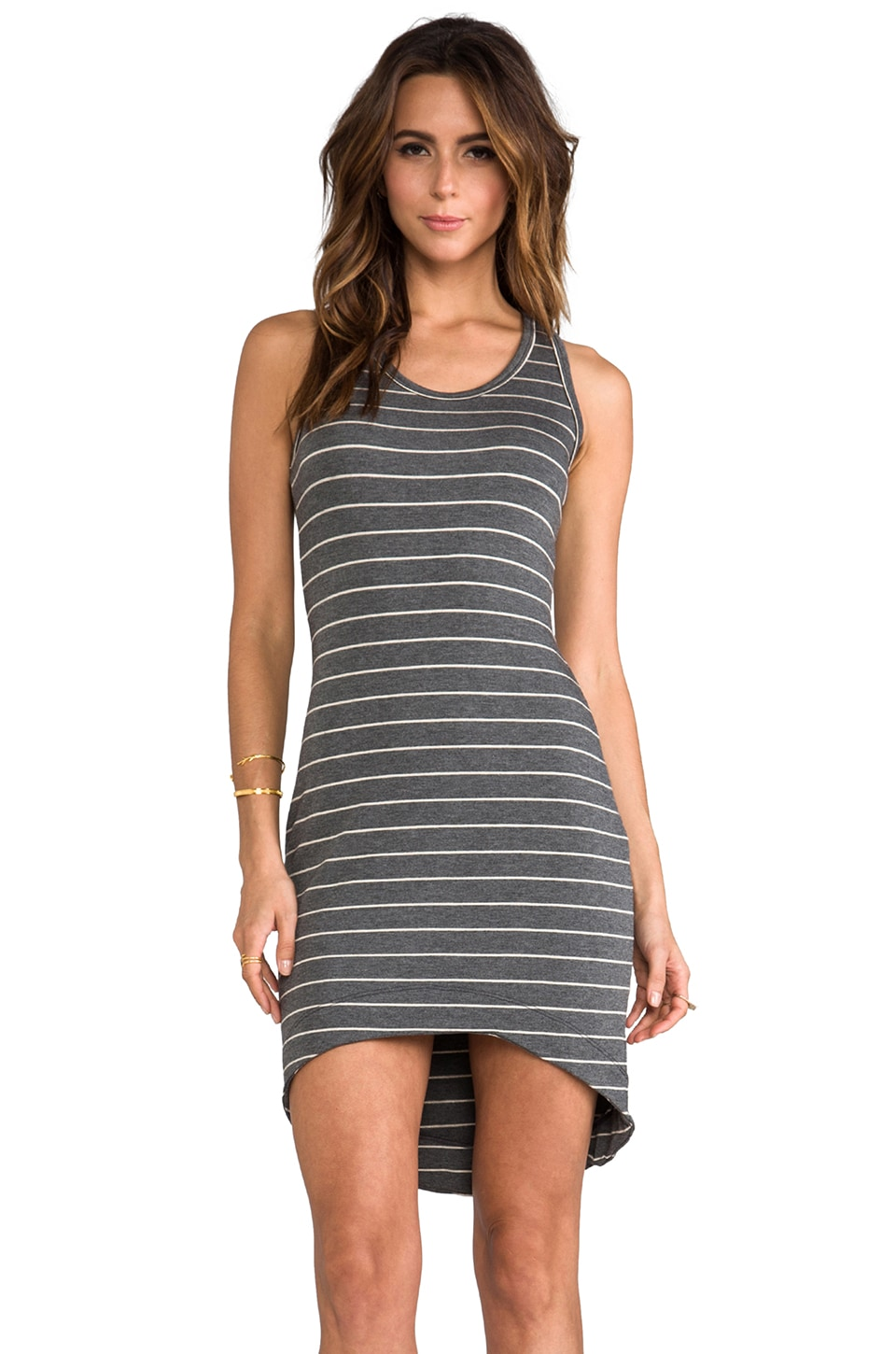 Saint Grace Moby Stripe Jo Hi-Low Tank Dress in Charcoal/Cream