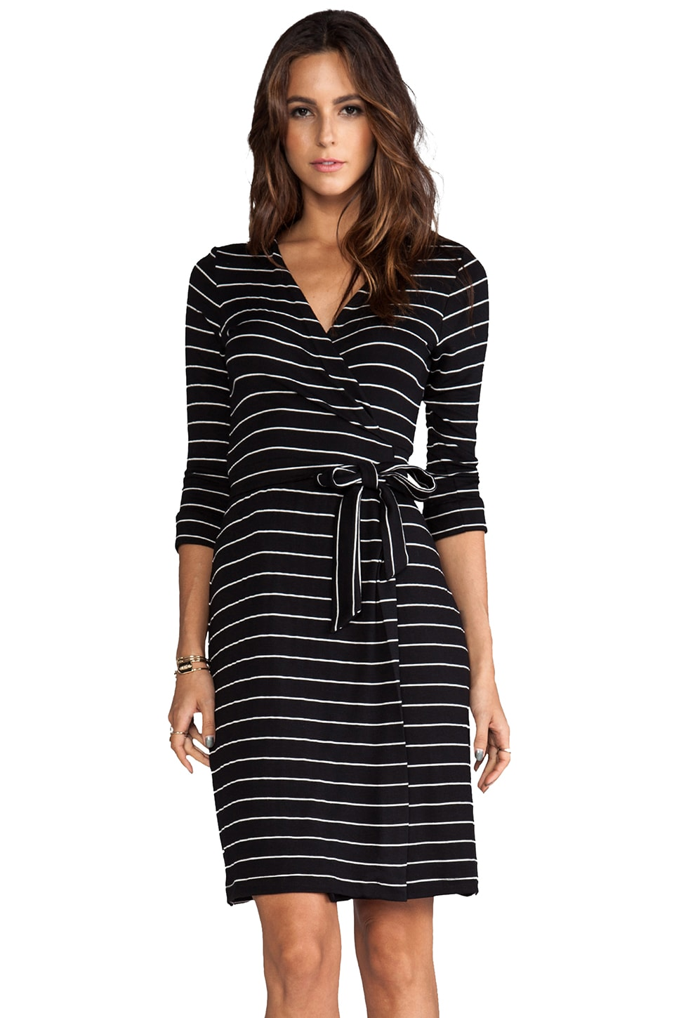Saint Grace Moby Dylana Stripe Wrap Dress in Black/White