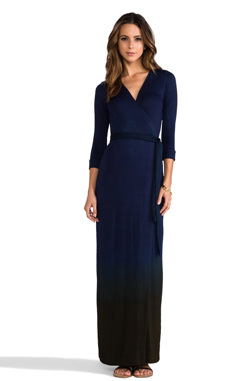 Saint Grace Celine Maxi Wrap Dress in Liberty/Army Ombre
