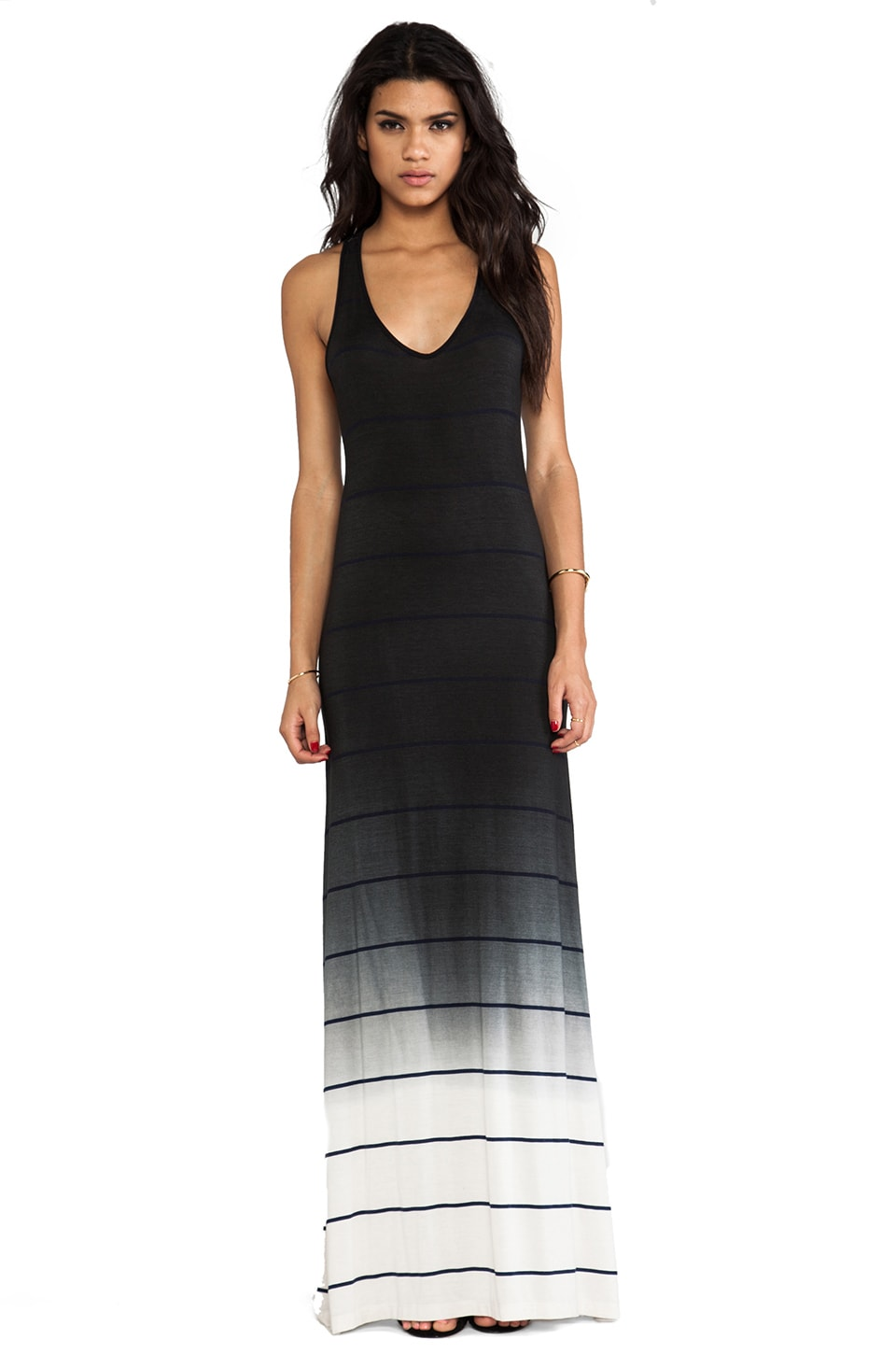 Saint Grace Bryn Ombre Stripe Jersey Dress in Black OW