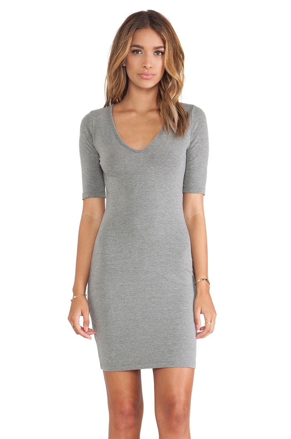 Saint Grace Sweet V Mini Dress in Ashes