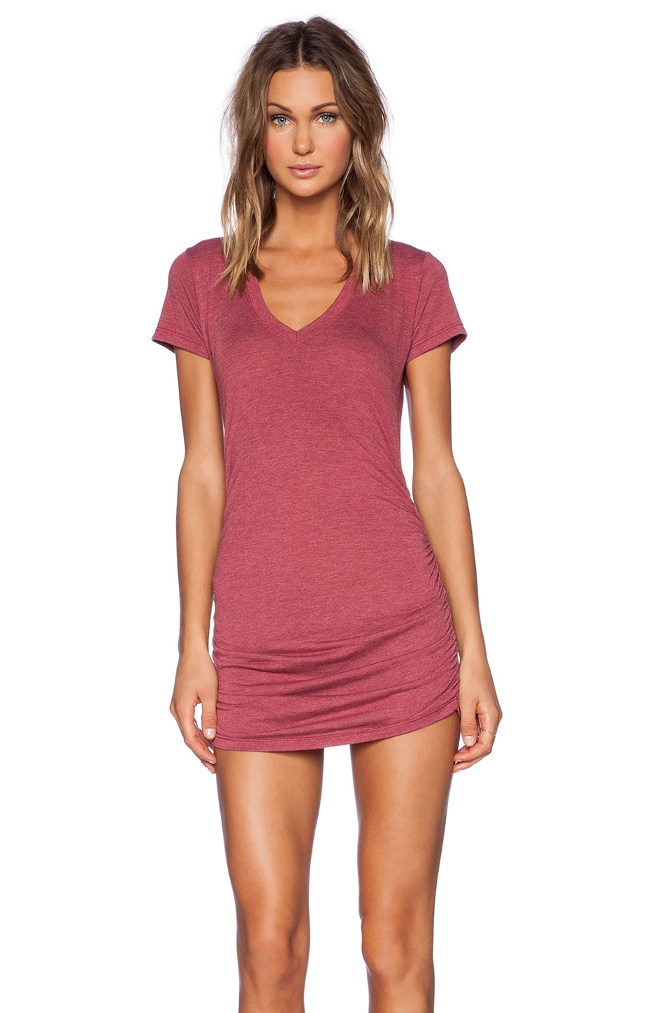 Saint Grace V Neck with Shirring Dress in Cran