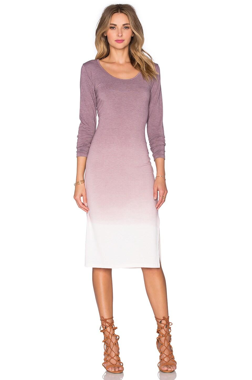 Saint Grace Long Sleeve Midi Dress in Merlot Ombre Wash