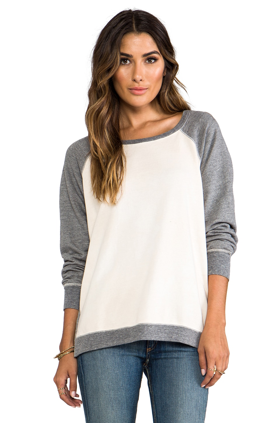 Saint Grace Cotton Fleece Ansel Contrast Sweatshirt in Swiss