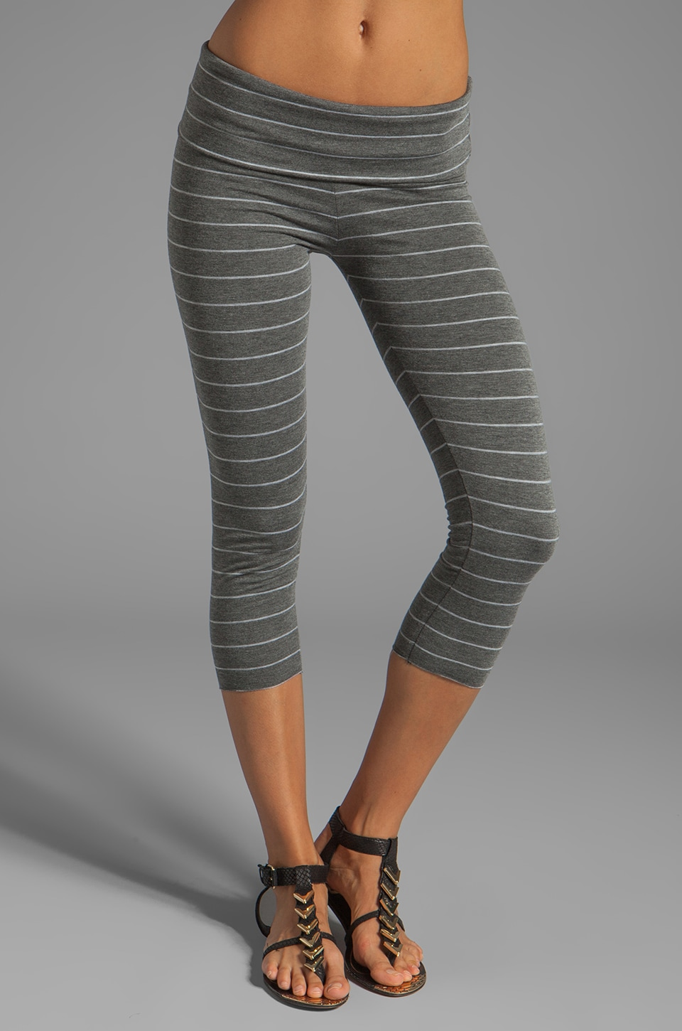 Saint Grace Foldover Crop Legging in Charcoal/Grey