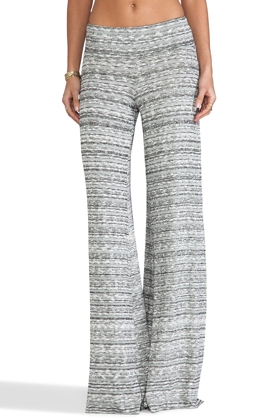 Saint Grace Mica Slub Wide Pant in Fog Stripe