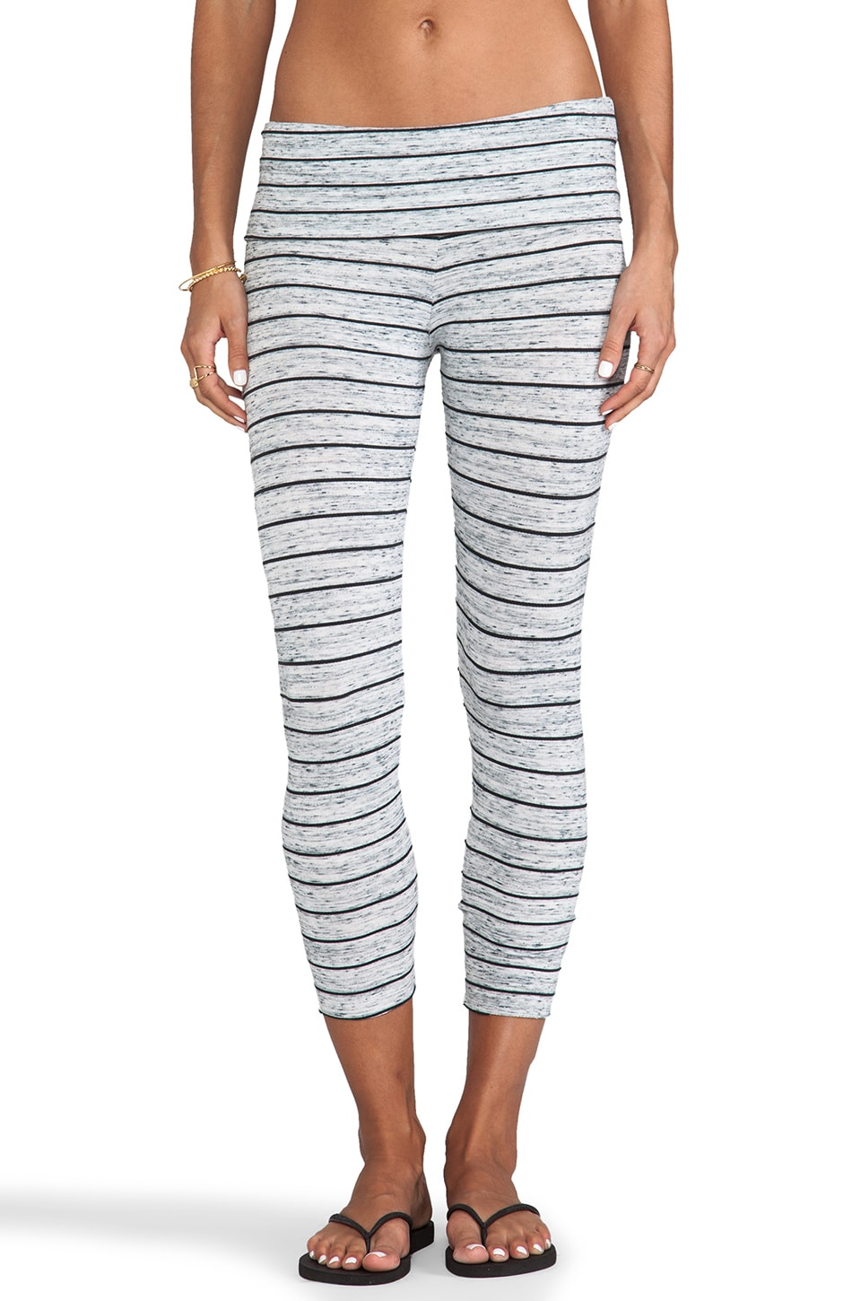 Saint Grace Crop Legging in Moby Stripe Storm & Black
