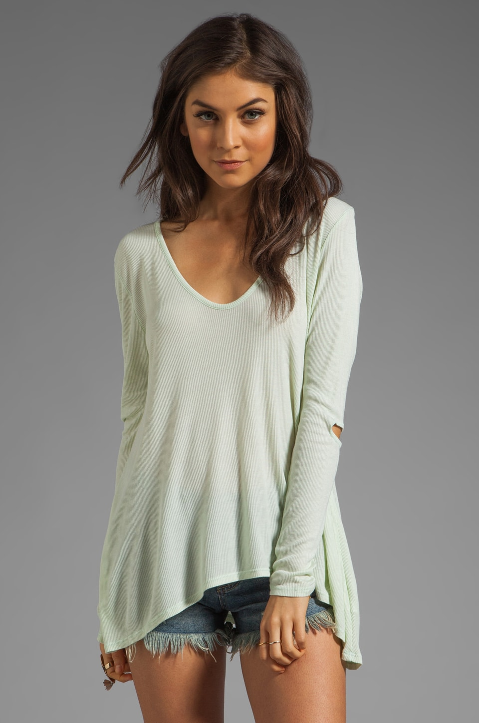 Saint Grace Pia Elbow Top in Mint