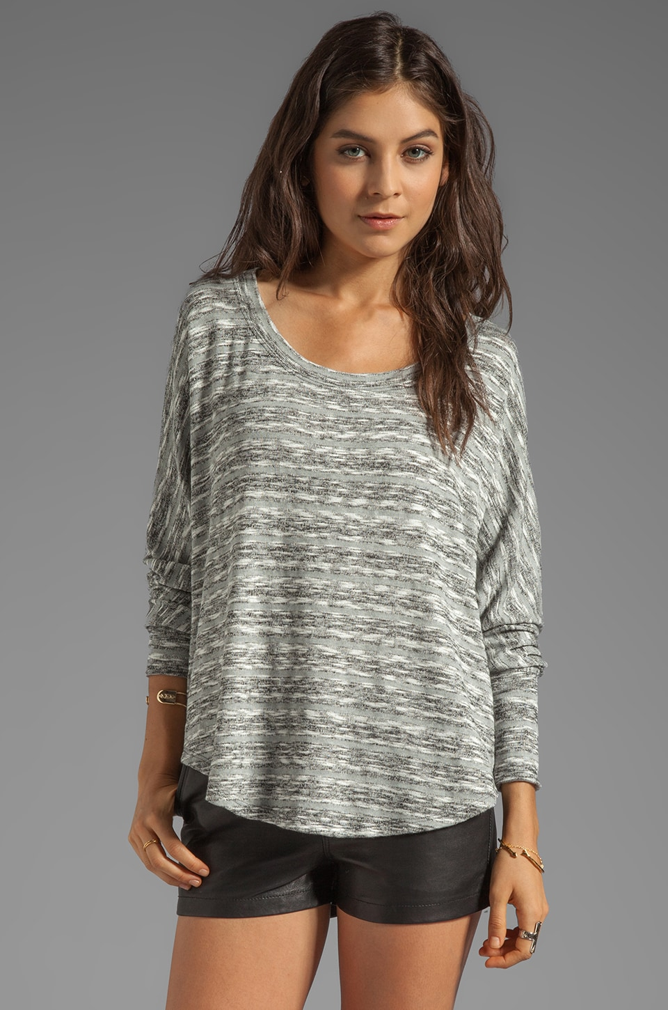 Saint Grace Mica Slub Shirttail Top in Fog Stripe