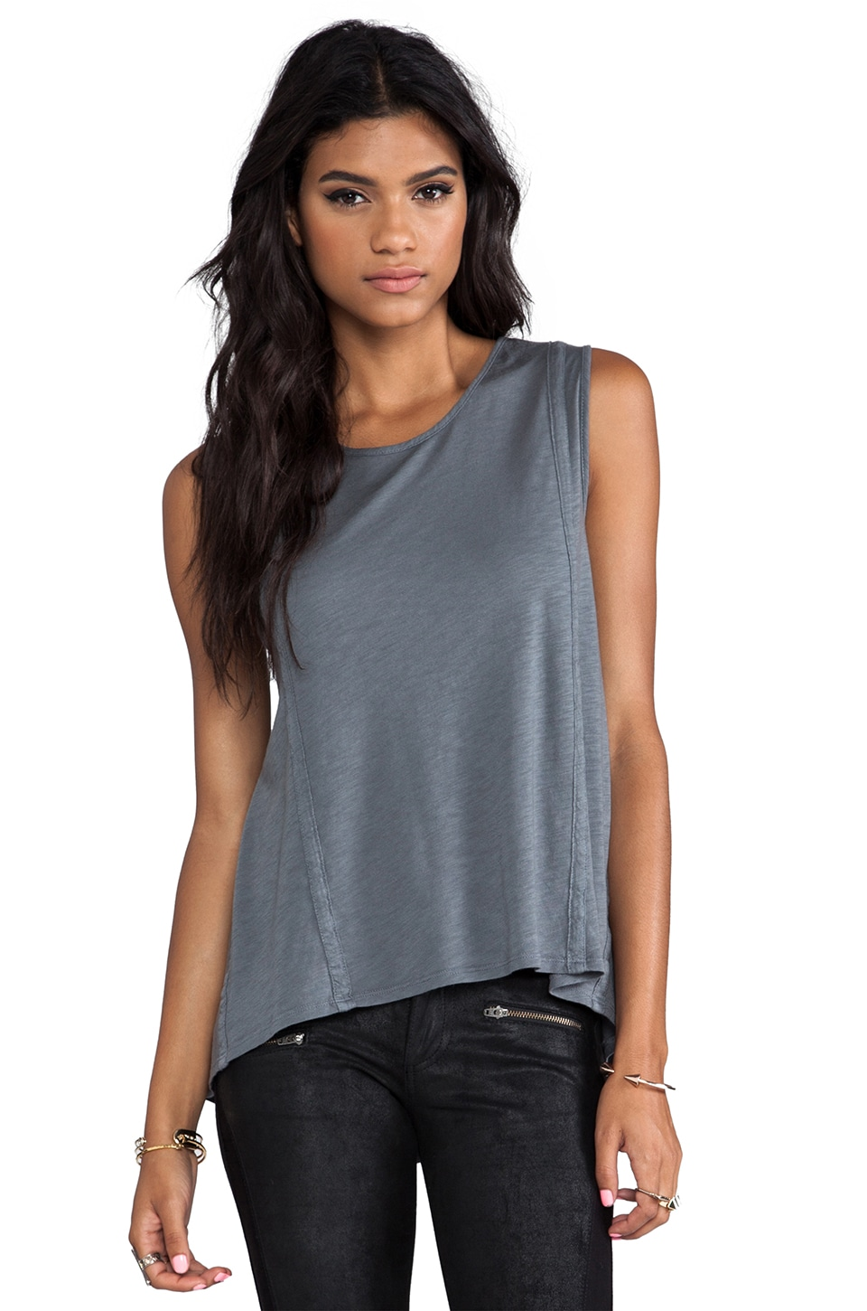 Saint Grace Vintage Jersey Balboa Loose Muscle Tank in Iron