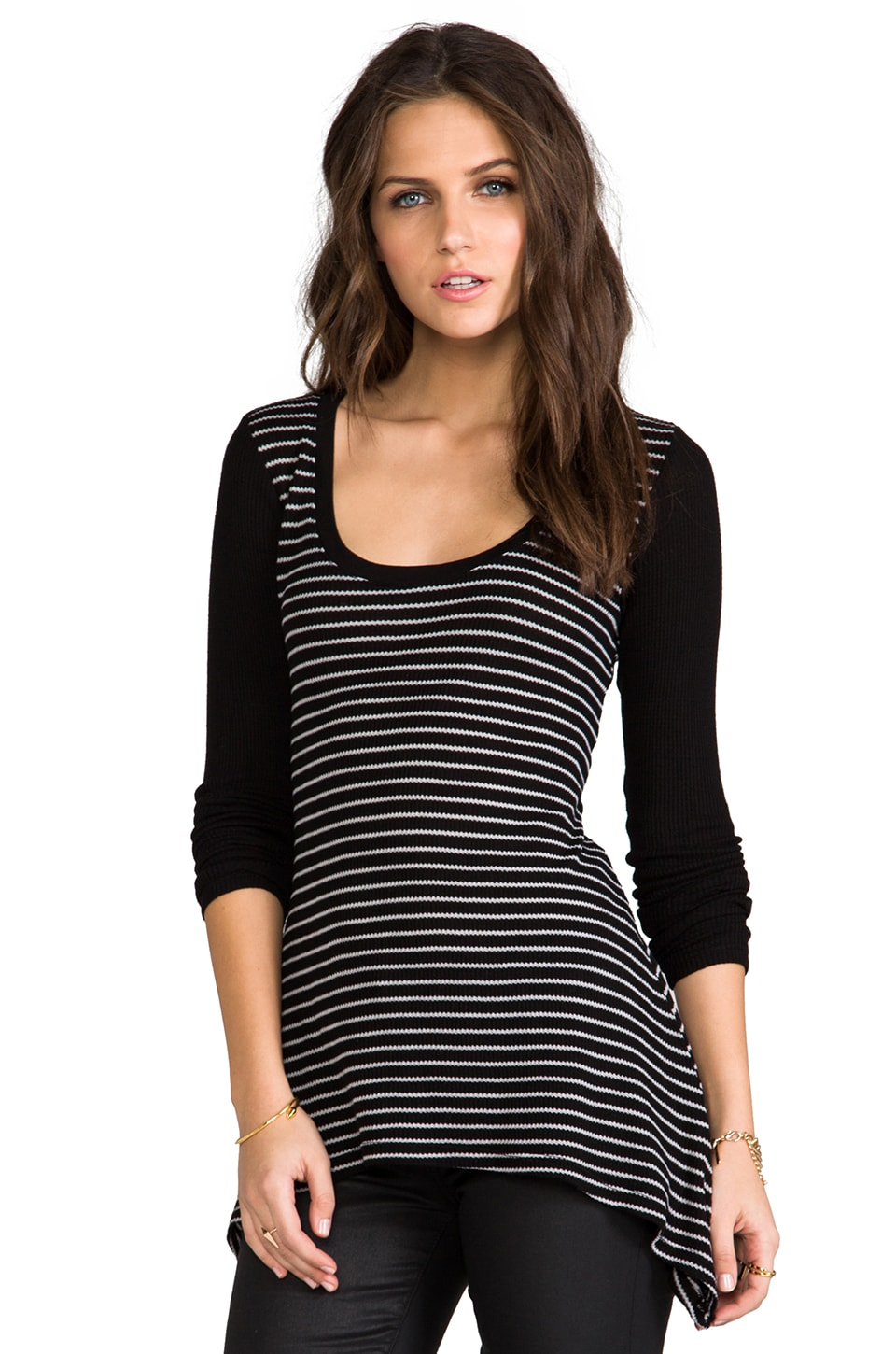 Saint Grace Thermal Maritza Stripe Top in Black