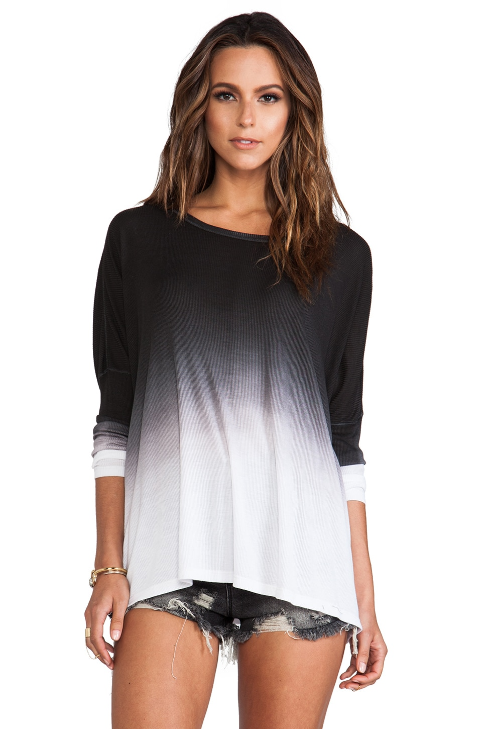 Saint Grace Omega Modal Rib Oversized Top in Black OW