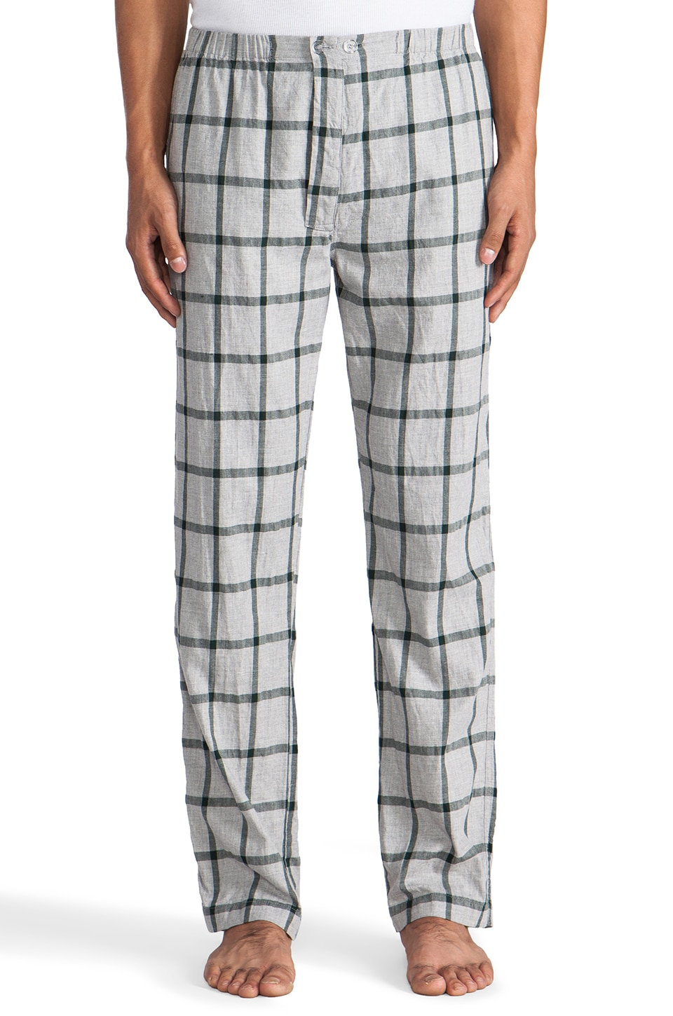 Steven Alan Plaid PJ Pant in Grey/Green