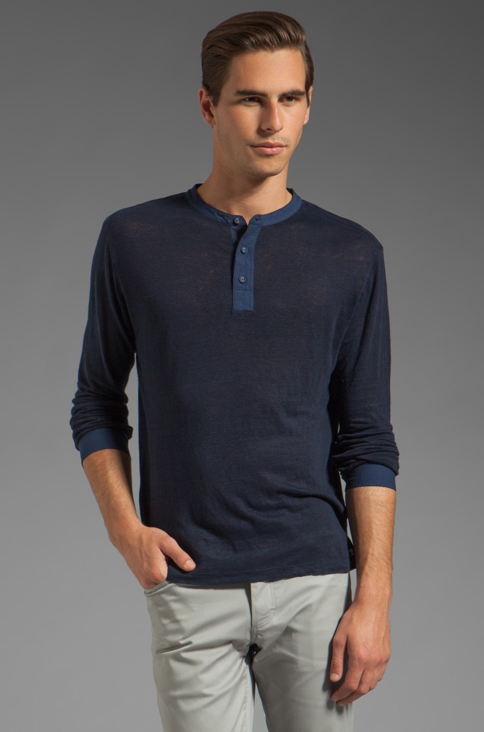 Steven Alan Lewis Nautical Henley in Midnight