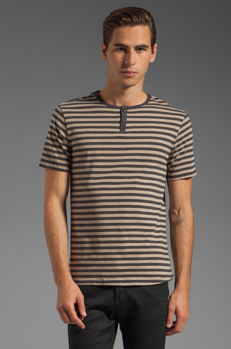 Steven Alan Eli Short Sleeve Henley in Grey Taupe