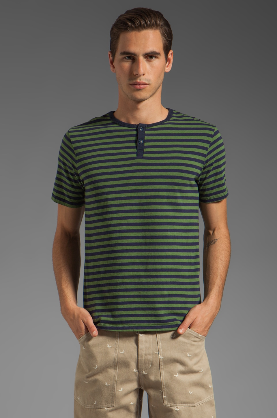 Steven Alan Eli Short Sleeve Henley in Green Navy