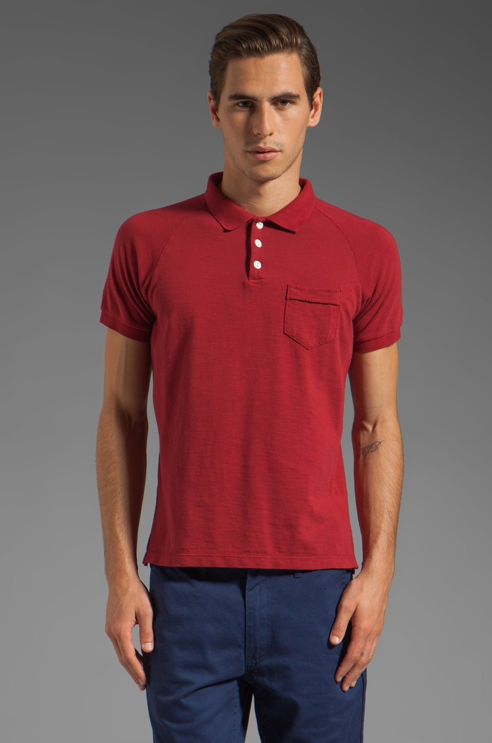 Steven Alan Stetson Short Sleeve Polo in Flare