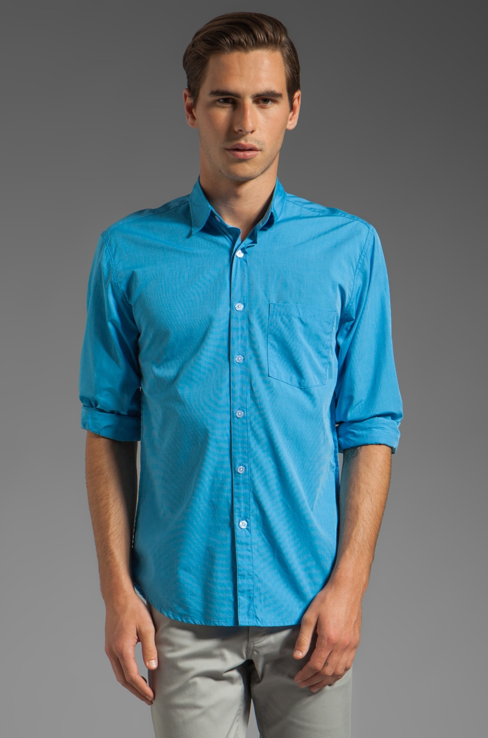 Steven Alan Reverse Seam Shirt in Sea