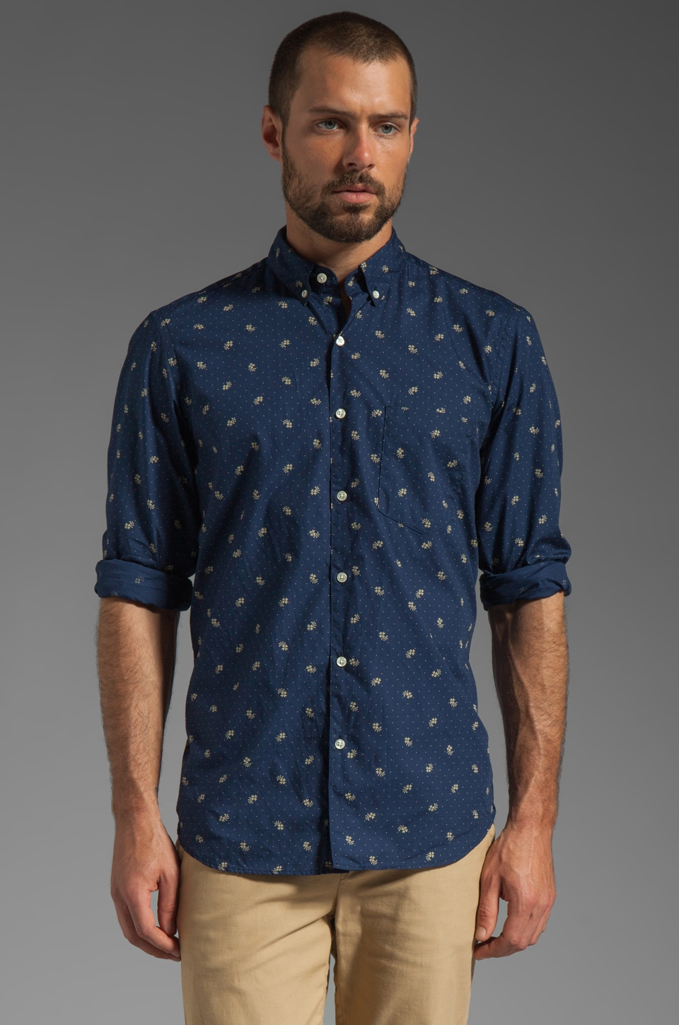 Steven Alan Single Needle Shirt in Floral Indigo