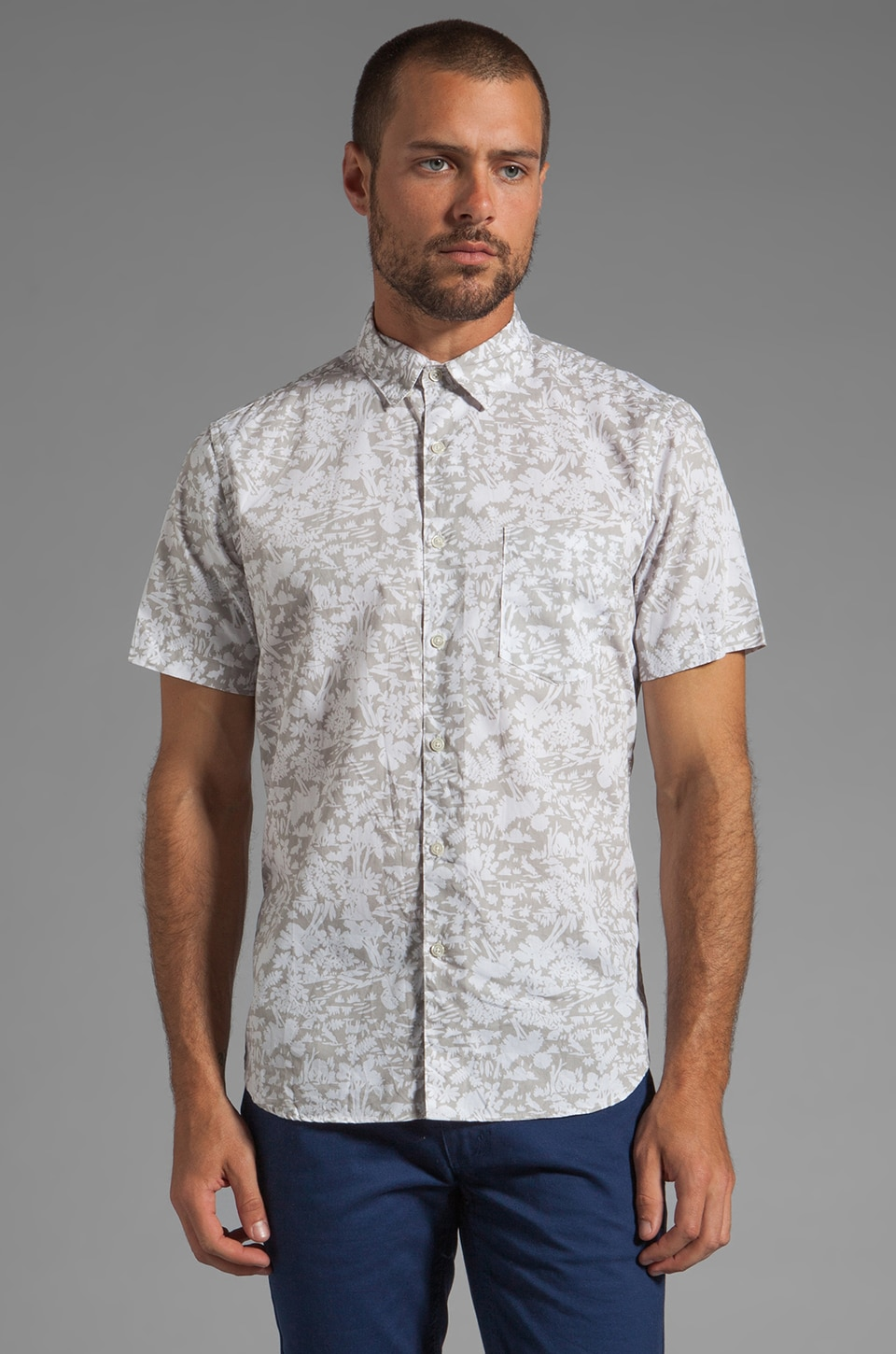 Steven Alan Single Needle Shirt en Grey Nature