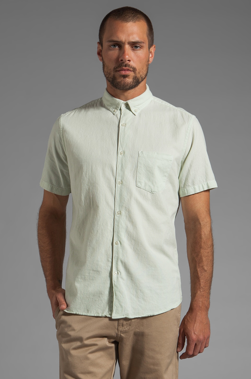 Steven Alan Single Needle Shirt in Mint Green