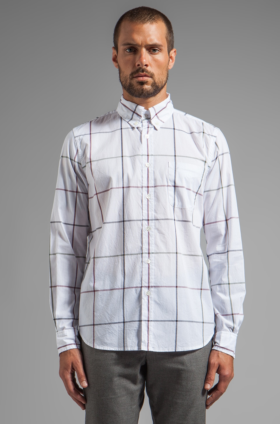 Steven Alan Classic Collegiate Shirt in Multi Tatter