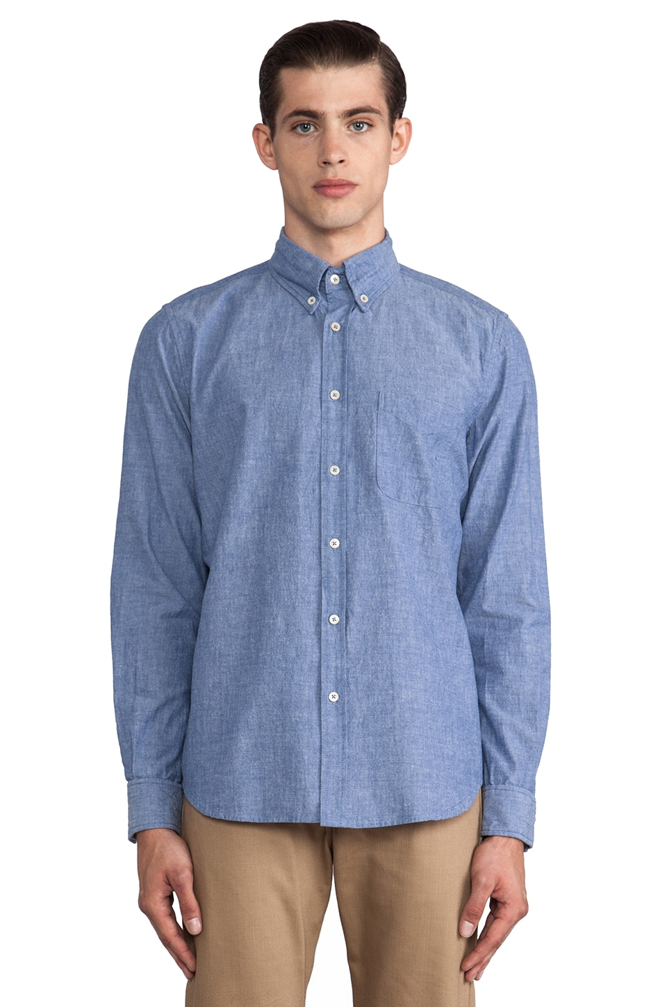 Steven Alan Classic Collegiate Shirt in Blue Chambray